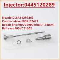F00RJ03515 0445120289 Diesel injector repair kits F00RJ02472 DLLA142P2262 (0433172262) nozzle valve for 0445120289 (5268408)