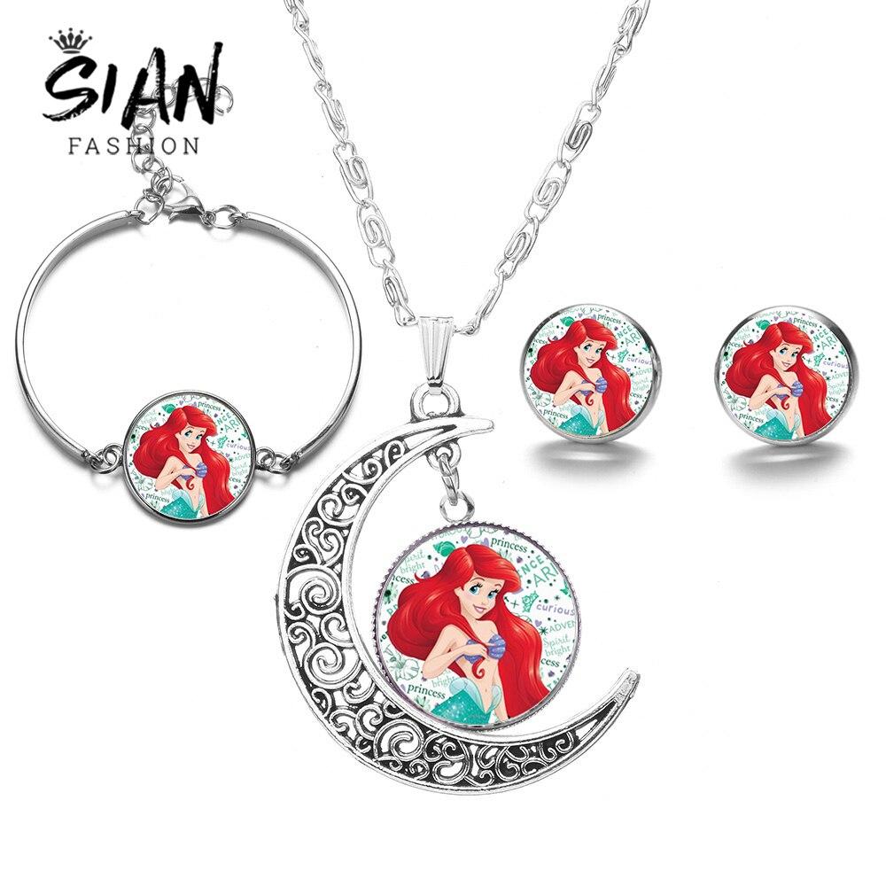 Nuevos conjuntos de joyería de sirena, Princesa, Luna, dibujos animados, La Sirenita Ariel Ocean Necklace Stud Earrings, conjunto de pulsera nuevo