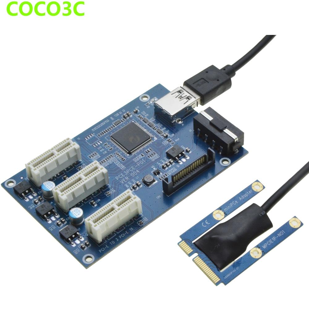 مصغرة pcie 1 إلى 3 فتحات pci express 1x الناهض محول مصغرة atx الكمبيوتر إلى pci-e بطاقة توسع ميناء المضاعف