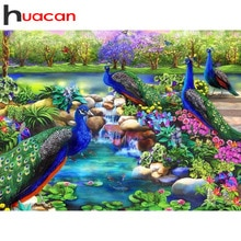 Huacan DIY accesorios de pintura de diamantes Pavo Real bordado completo de diamantes Kit completo escénico nuevas imágenes de diamantes de imitación
