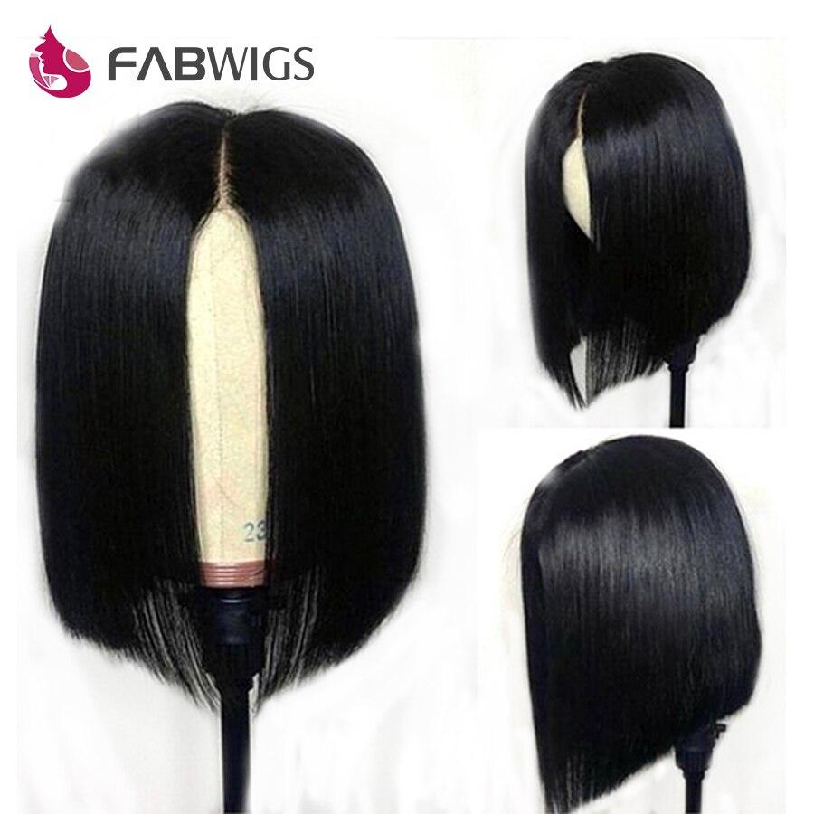 Fabwigs Bob peluca frontal de encaje Pre desplumado pelucas de cabello humano pelo humano brasileño recto corto Peluca de cabello humano Remy 13 pelucas de encaje x 4