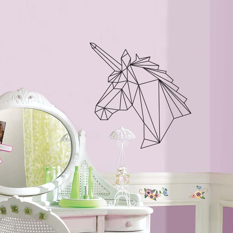 Unicornio de origami patrón de pared pegatinas para niños vivero habitación niñas vinilo pared calcomanías dormitorio dulce arte murales para el hogar etiqueta L458