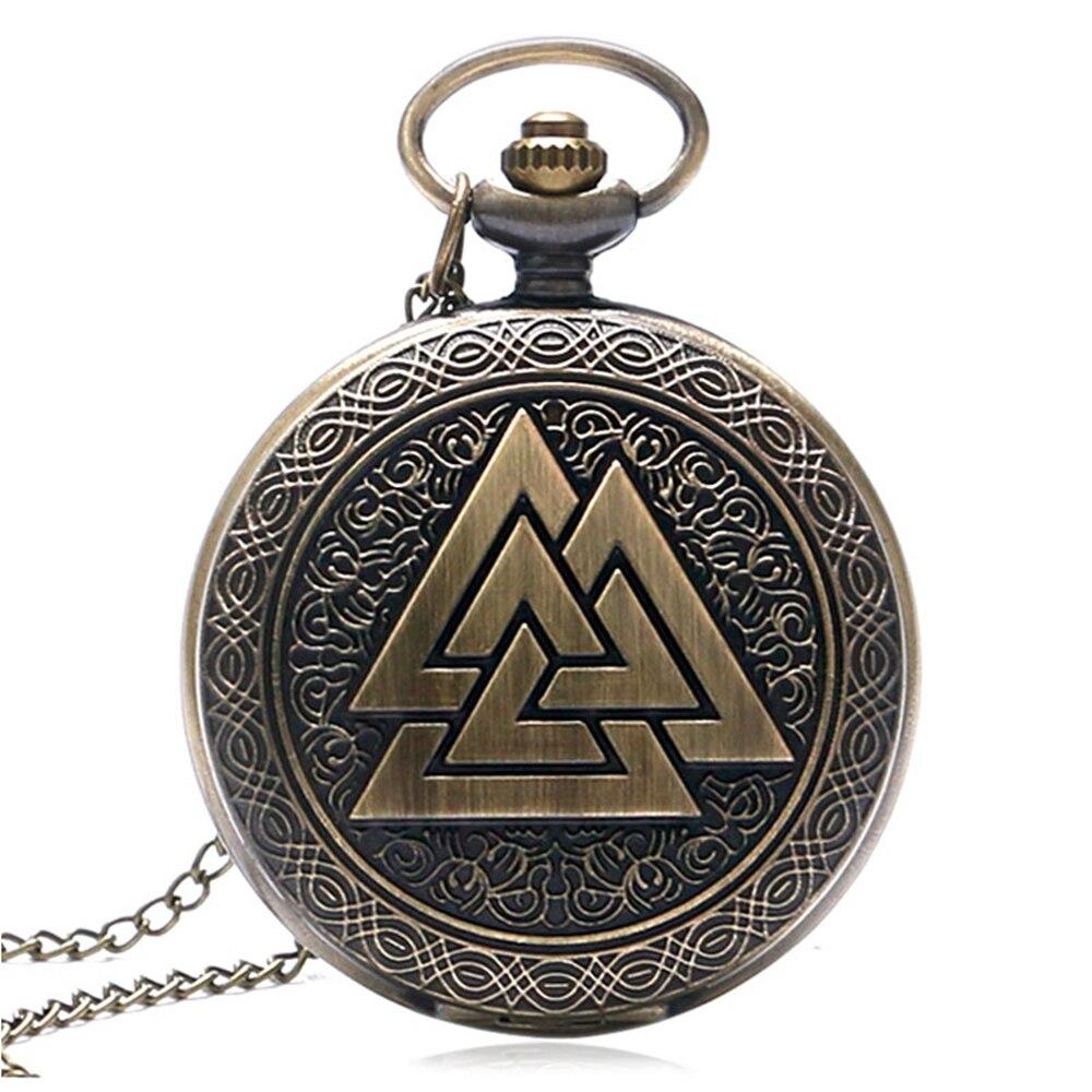 YISUYA мужские карманные часы, винтажные бронзовые треугольные часы с подвеской в виде охотника, кварцевые часы, горячая распродажа, карманные...