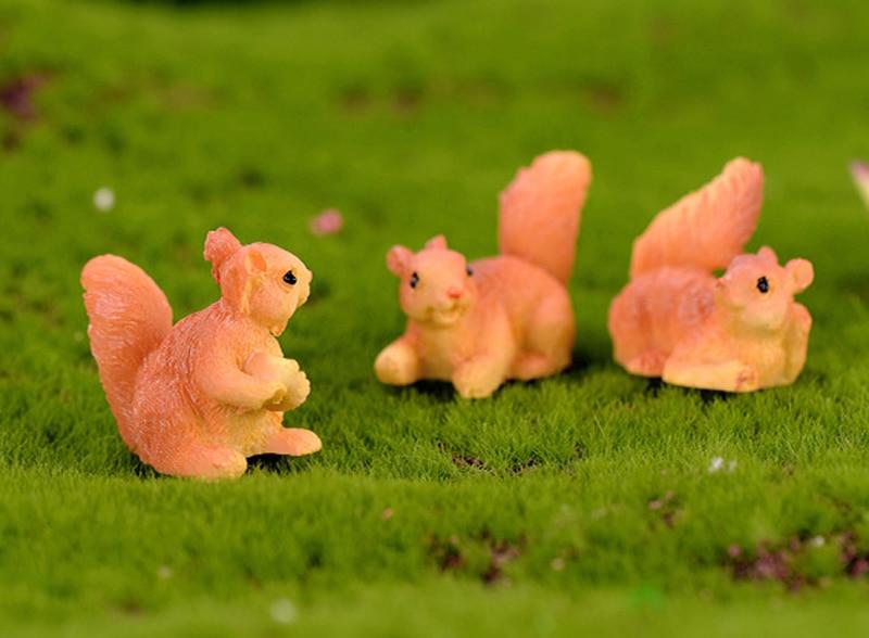 8 piezas pintado ardilla animales figuras miniaturas hadas jardín terrario mini plantas hogar de bonsai Decoración