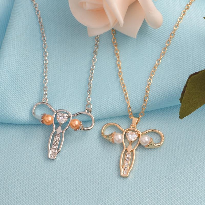 Rosa e Coração Símbolo Da Medicina O berço do bebê do Útero da Mulher colar de Jóias em Forma para a Enfermeira Médico colar