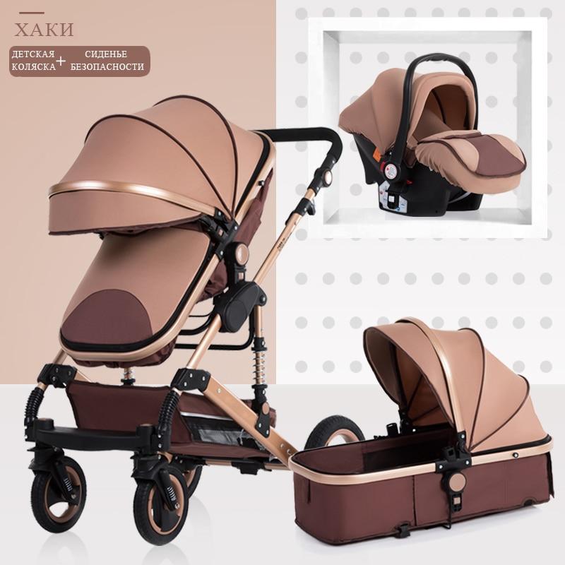 Cochecito de bebé 3 en 1, cochecito plegable con paisaje alto, cochecito dorado para bebé, cochecito para recién nacido