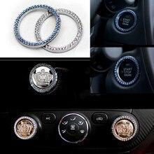 Carro de metal coroa cristal estilo do motor start stop botão decoração se encaixa a maioria dos carros