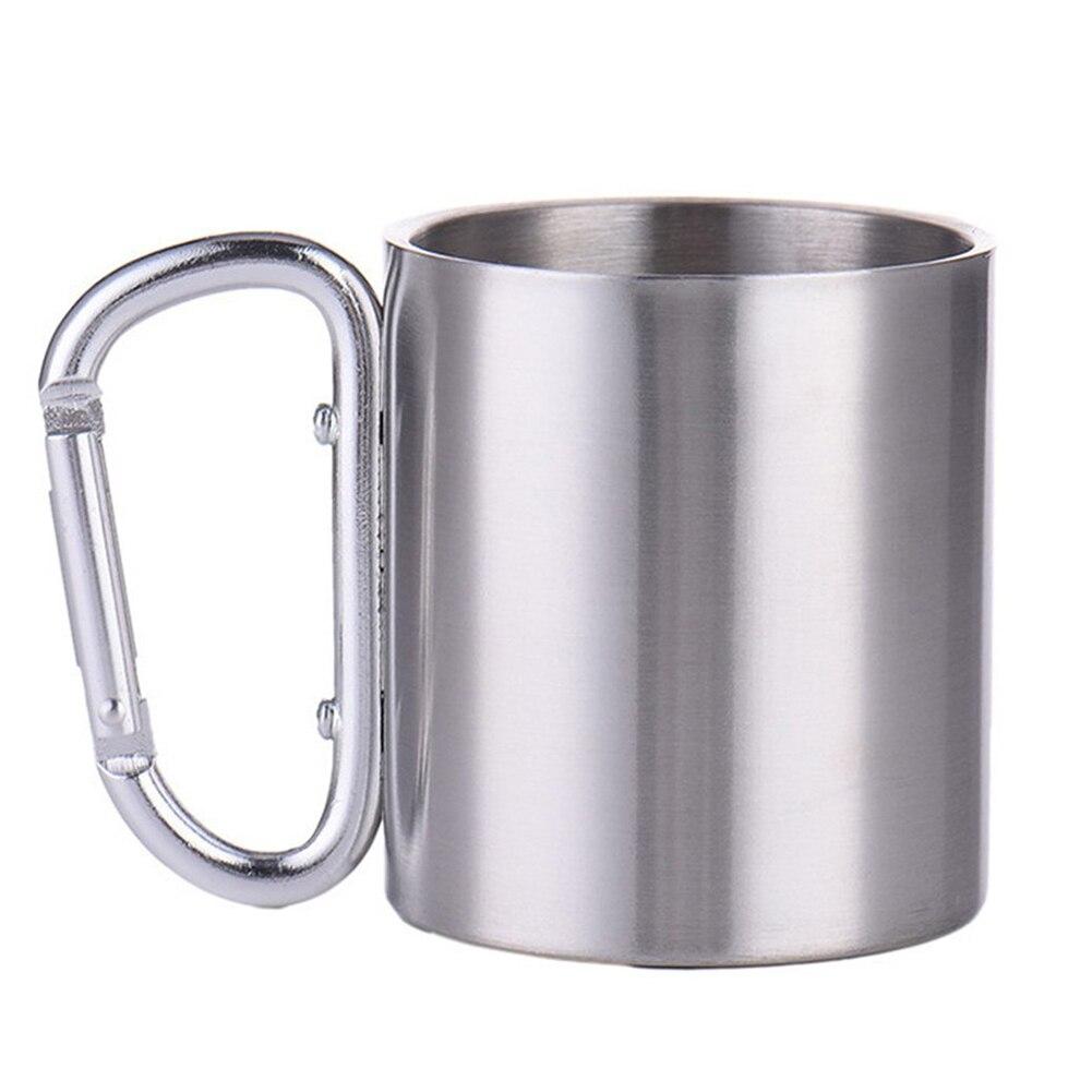 Taza de té agua café al aire libre portátil de 300ml taza con asa de mosquetón con cierre automático para Camping senderismo escalada