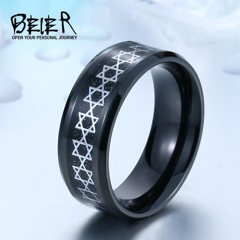 Мужское кольцо с рисунком Давида из звезд Beier, кольцо с великолепной пентаграммой, высокое качество, модные украшения, кольцо из нержавеющей стали 316l