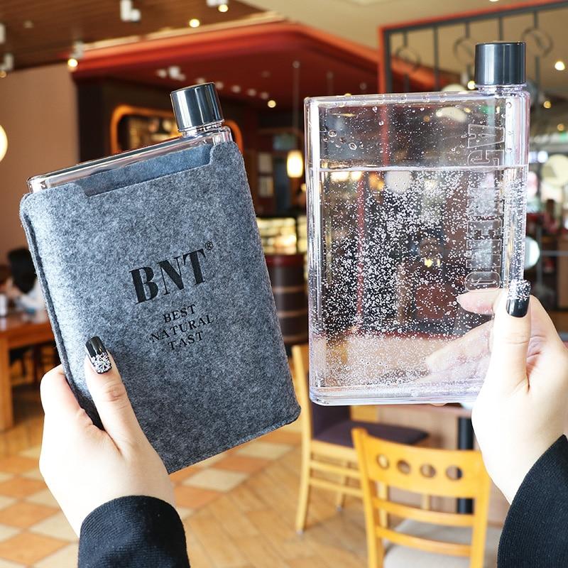 Botella de agua plana de papel portátil de 420ml con personalidad cuadrada, vajilla de papel A5, botella de agua Kawaii, botella de agua creativa My Water Bottle Cute