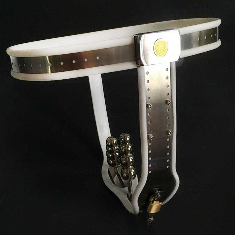 أنثى العفة حزام الشرج التوصيل المهبل المكونات دسار الاستمناء حزام على السراويل الفولاذ المقاوم للصدأ Bdsm المعادن أدوات الجنس العفة جهاز