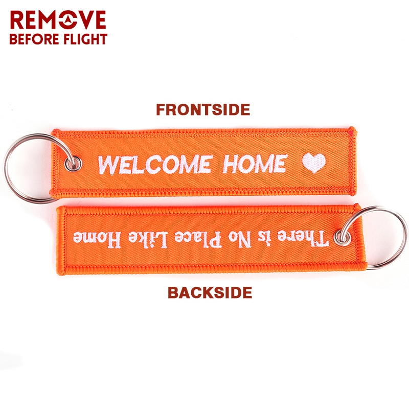 50 PCS Fashion Jewelry OEM Key Ring Keychain llaveros Safety Label Embroidery Customize Key Rings Chain for Aviation Gifts