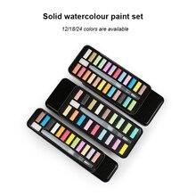 Solid gouache paint set with 12 colors, 18 colors, 24 colors gouache powder 1set art supplies in case for kids painting utensils
