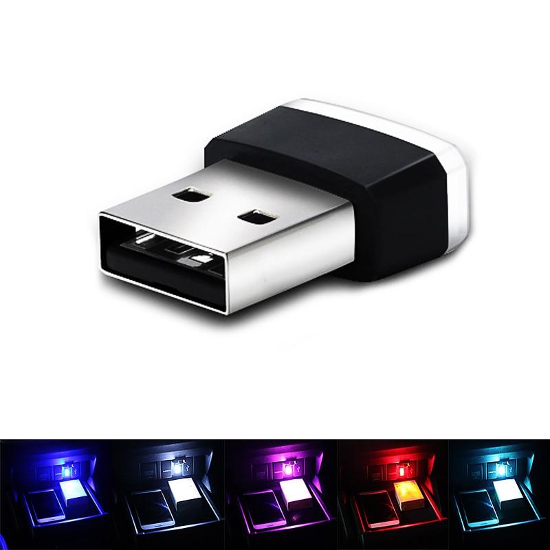 Pecham, luces LED de ambiente USB para coche, Lámpara decorativa, iluminación de emergencia, PC Universal, portátil, Plug and Play, rojo/azul/blanco