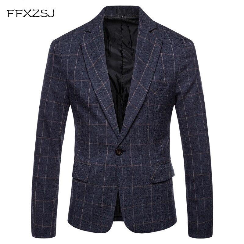 FFXZSJFashion hombres chaqueta Casual traje de chaqueta de traje de corte Slim de los hombres de negocios de primavera y otoño traje de Homme Terno Masculin Blazer de ocio