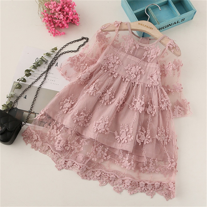 2019 Summer BibiCola Girl Clothes Kids Dresses For Girls Lace Flower Dress Baby Girl Party Wedding Dress Children Girl Princess