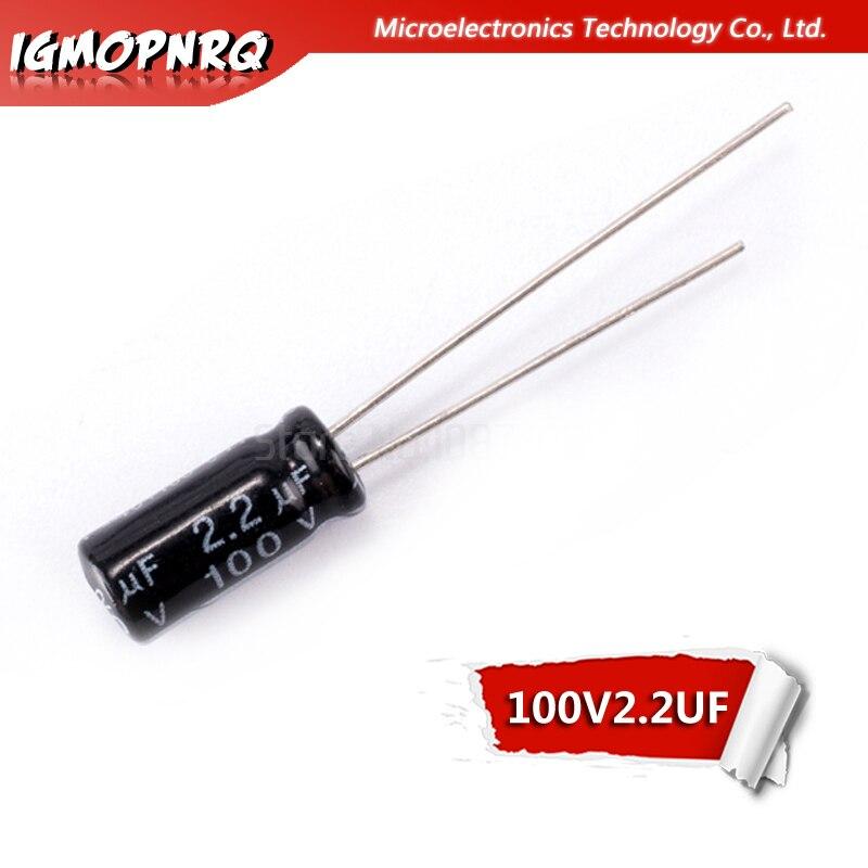 50 pces 100v2.2uf 5*11mm 2.2uf 100v 5x11mm alumínio capacitores eletrolíticos dip