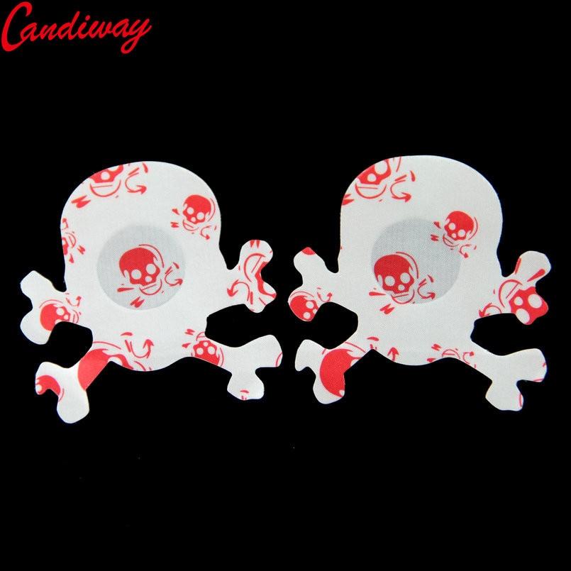 Красный череп дизайн сексуальные женские наклейки на грудь сердце череп звезда формы клей молочная паста Эротическое Белье Бюстгальтер со...