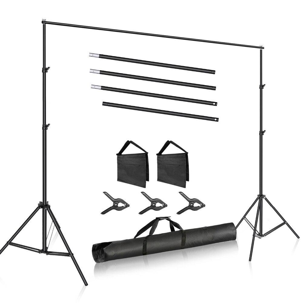 Sistema de Apoio do Pano de Fundo do Estúdio da Foto de Neewer Suporte de Fundo Braçadeiras do Pano de Fundo 2m de Largura Alto com 4 Neewer Ajustável Barras Transversais 3 de 6.6ft –