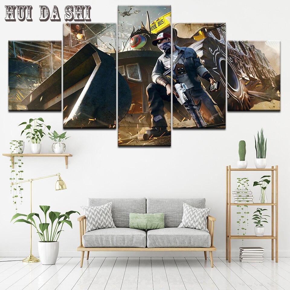 Toile de peinture Cuadros décorative   5 plan, Art mural toile, montre chiens 2 imprimés de jeu, affiche Art image pour salon, décoration de la maison