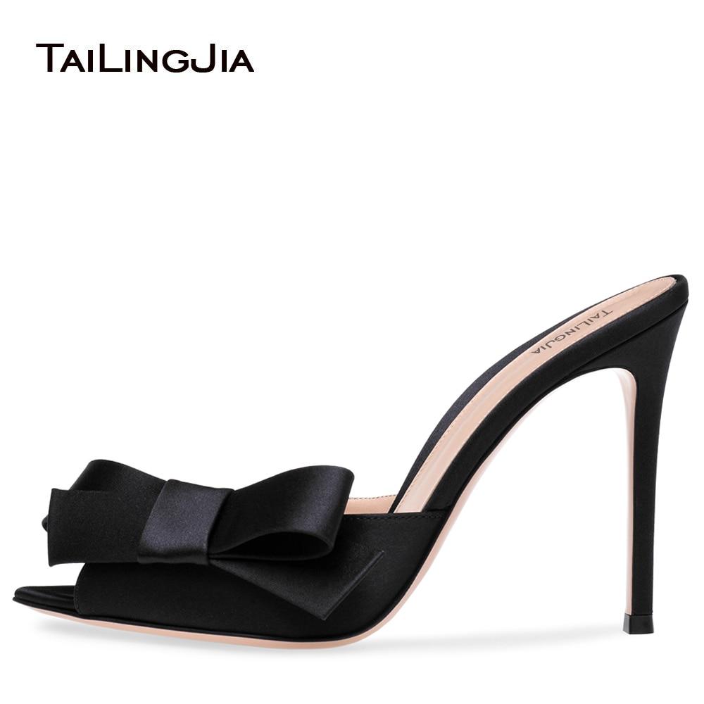 حذاء نسائي بمقدمة مدببة ، حذاء نسائي بكعب عالٍ ، بفيونكة ، ساتان أسود ، صيفي