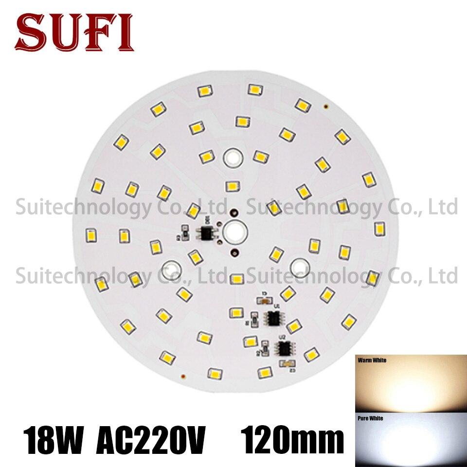 AC220v LED Lampe Lampen PCB 18W 120mm runde form ntegrierte Smart IC Fahrer Weiß & Warm Weiß Für decke Lichter LED Blub Licht