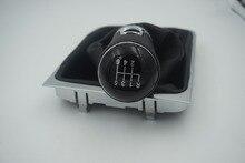 Bouton de manette de vitesse de finition chromé 12mm bouton en cuir 6 vitesses pour vw passat b6 b7 3aa711113a