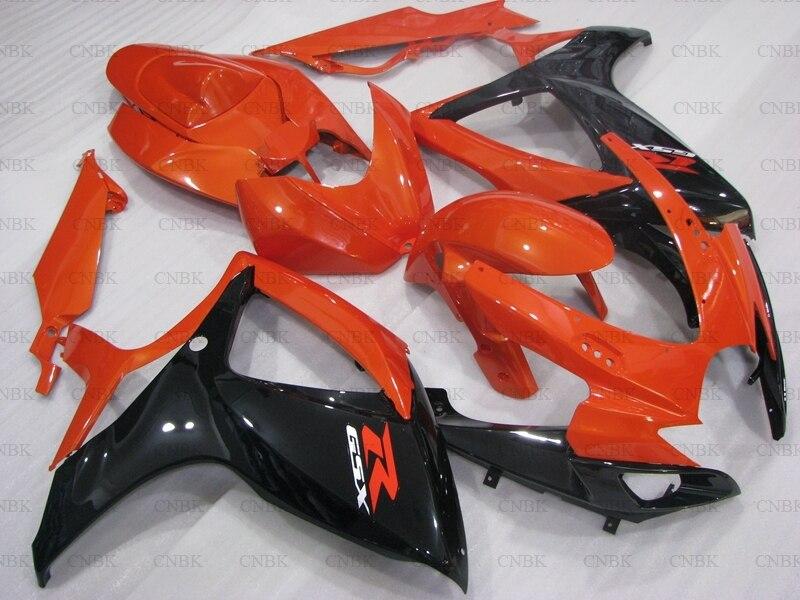 Para GSX-R600 2006 - 2007 K6 carenado GSX R 750 07 naranja negro carenado de Abs para Suzuki GSXR750 06 carenado sin pintar