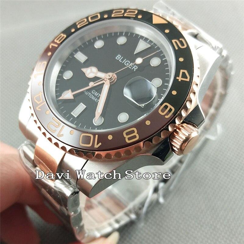 Bliger 40mm mostrador preto ouro rosa gmt safira vidro relógio de pulso automático 2625