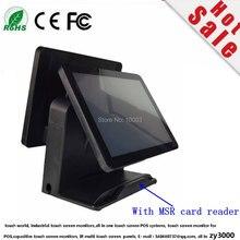 En gros 4 unités/lot Q8 noir usine Super double écran tout en un écran tactile capacitif Pos terminal avec MSR soin lire