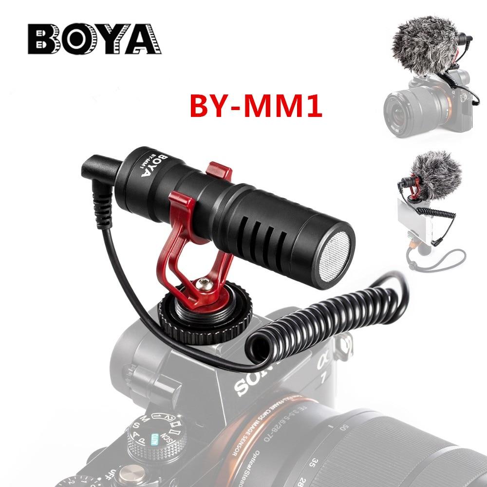 ميكروفون تسجيل فيديو من BOYA BY-MM1 لكاميرا DSLR للهواتف الذكية وجيب أوزمو وميكروفون يوتيوب لآي فون وأندرويد DSLR Gimbal