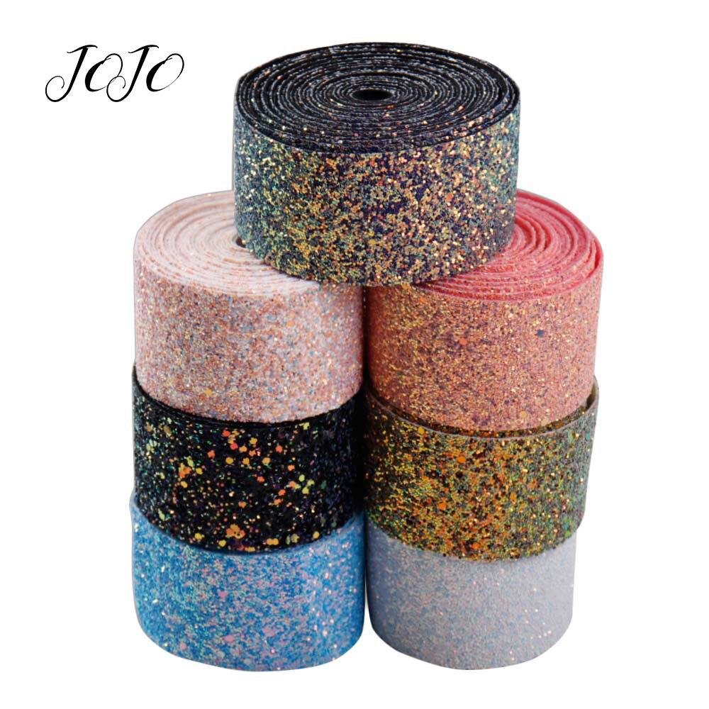 JOJO ARCOS 50mm 1y Sparkly Chunky Glitter Fita Sólida Sapato De Costura De Vestuário webbing Fita Para Costura DIY Arcos de Cabelo materiais