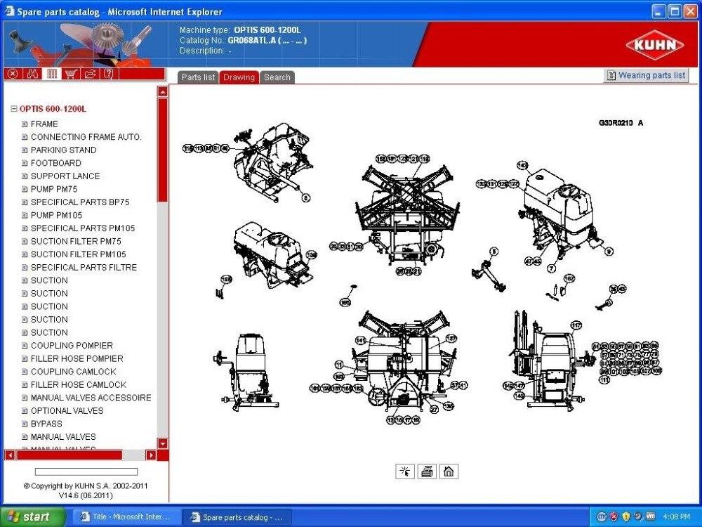Kuhn piezas de maquinaria agrícola catálogo