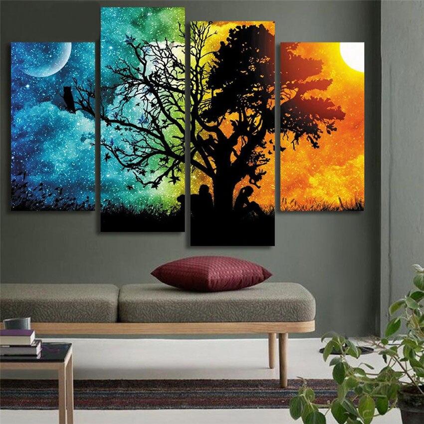 Pinturas de pared de árbol y sol para amantes de la Luna,...