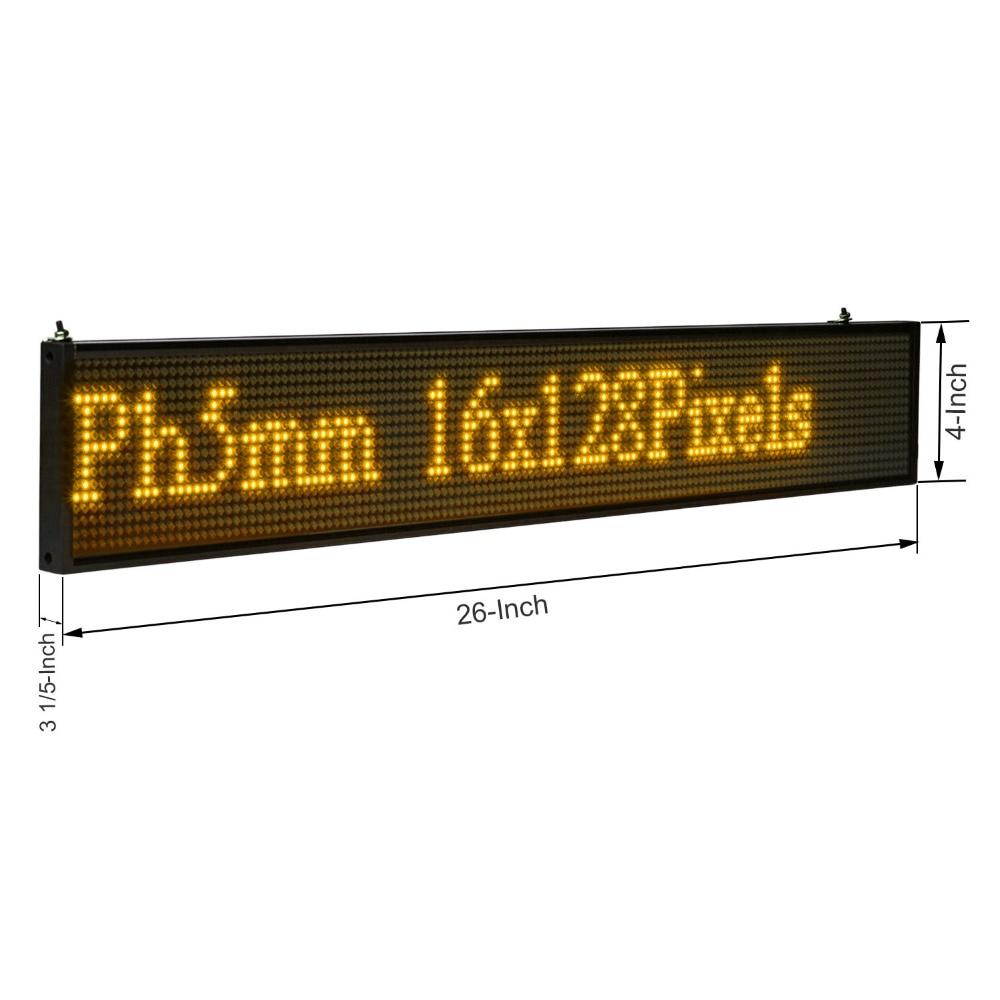 66 см Светодиодная доска объявлений P5 SMD 16*128 желтый WIFI беспроводной и usb Программируемый Прокрутка информации сообщения реклама