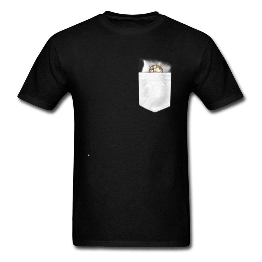 Мужские футболки с кошкой спящей в кармане, новые летние Топы И Футболки из хлопка с круглым вырезом и коротким рукавом, футболка с надписью ...