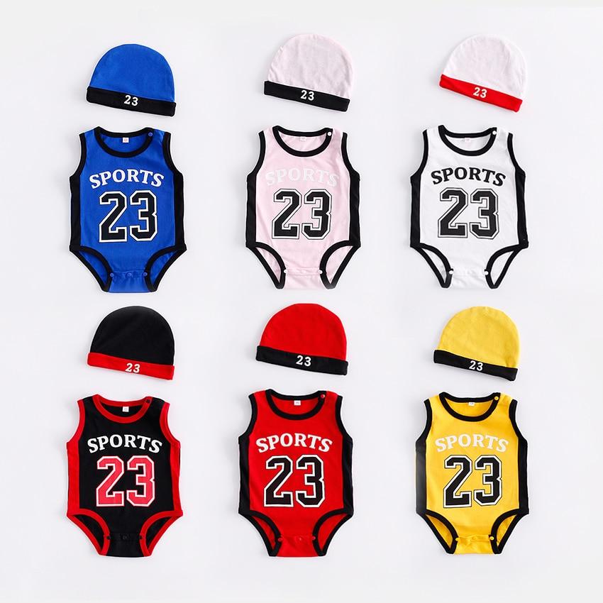 Комбинезоны из хлопка для маленьких мальчиков и девочек, комбинезоны для новорожденных + шапка, комплект одежды из 2 предметов для маленьких девочек, спортивная одежда для новорожденных, 2018 г., 23