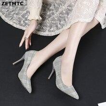 ZETMTC 2019 الكلاسيكية أحذية النساء مضخات أحذية كعب سميك الكاحل شعرية المرأة خنجر الأحذية Chaussures31-45