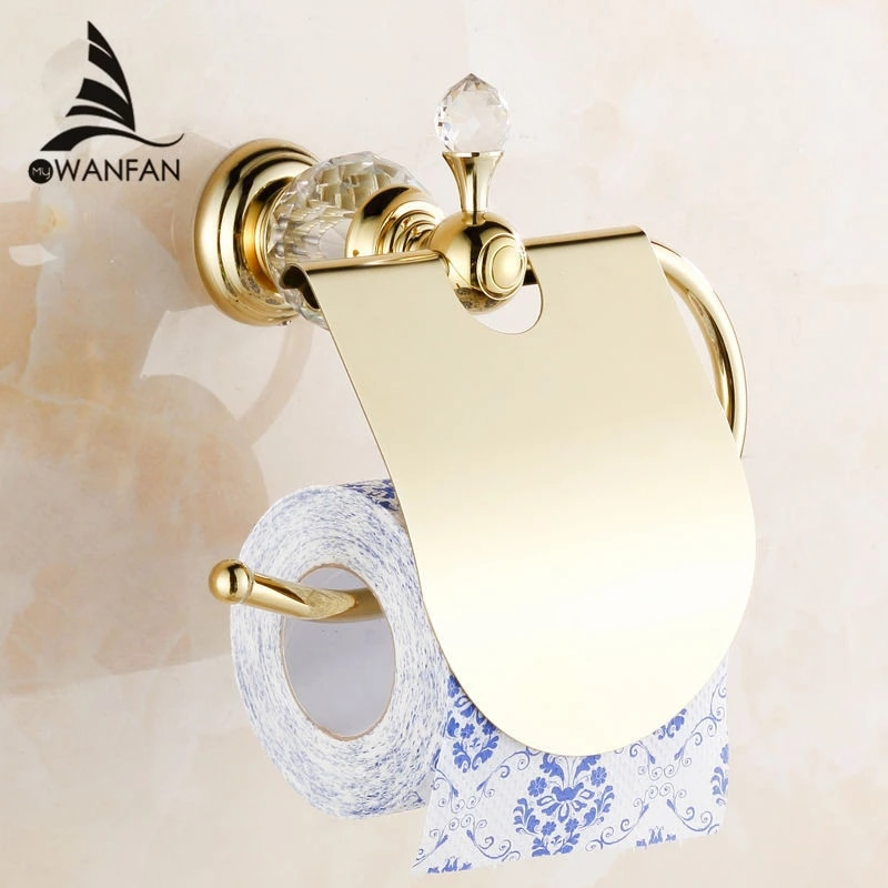 נייר מחזיק קריסטל מוצק פליז זהב רחצה וו חלוק סבון מחזיק מגבת בר מגבת בר מחזיק כוס אביזרי אמבטיה Hk 40 Toilet Paper Holder Paper Holderroll Holder Aliexpress