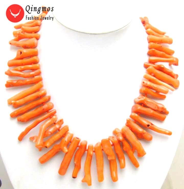 "Qingmos Genuíno de Laranja Natural Coral Colar para Mulheres com 8*40mm Forma Ramo 20 ""Coral Gargantilhas Colar fine Jewelry nec5609"