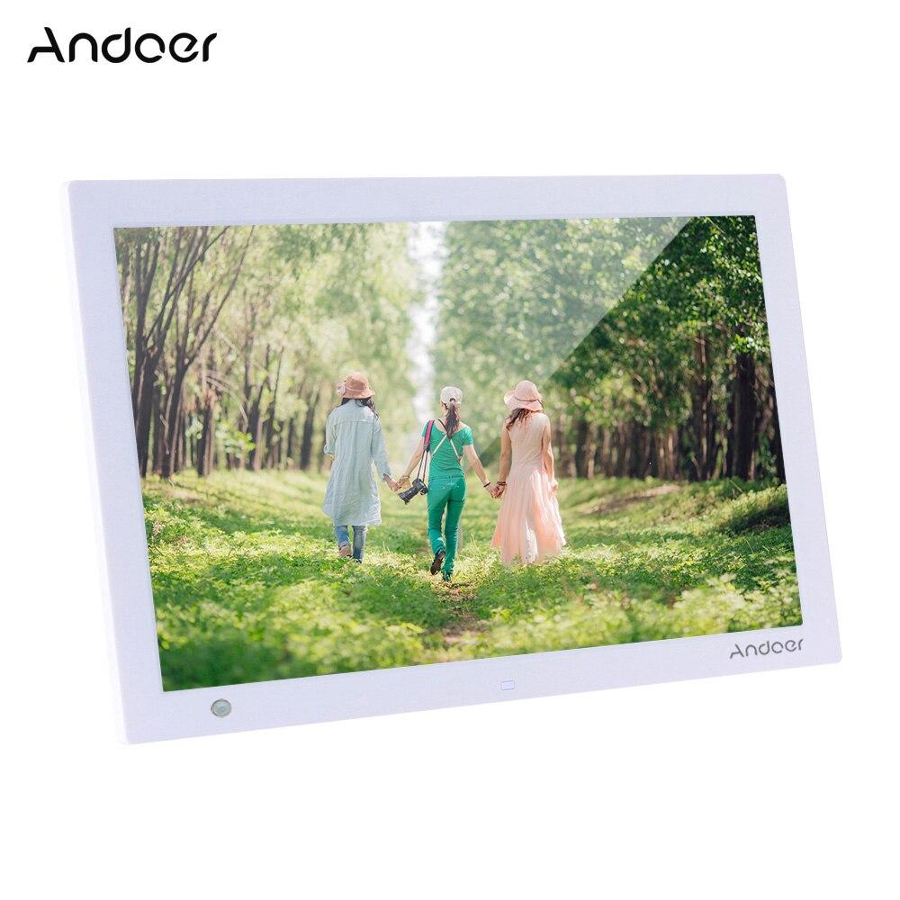 Marco de fotos Digital HD Andoer 1280*800, álbum de fotos electrónico, reproductor de música y vídeo 1080P con Sensor de movimiento, subtillar de desplazamiento
