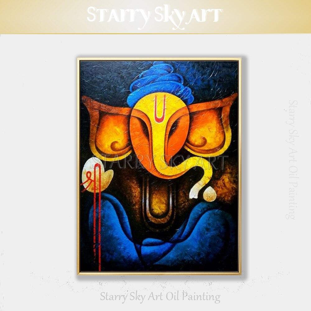 Cuadro de Arte de Ganesh DE DIOS indio pintado a mano pintura de elefante pintura abstracta moderna de la pared pintura del retrato de Ganesh