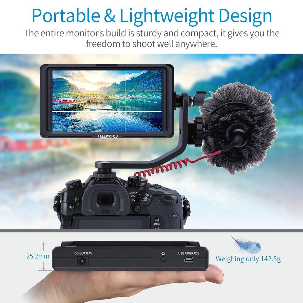 "FEELWORLD F5 5 ""DSLR Cámara Monitor de campo pequeño completo HD 1920x1080 IPS Video alcanzando su punto máximo en ayudar con 4K HDMI 8,4 V salida DC"