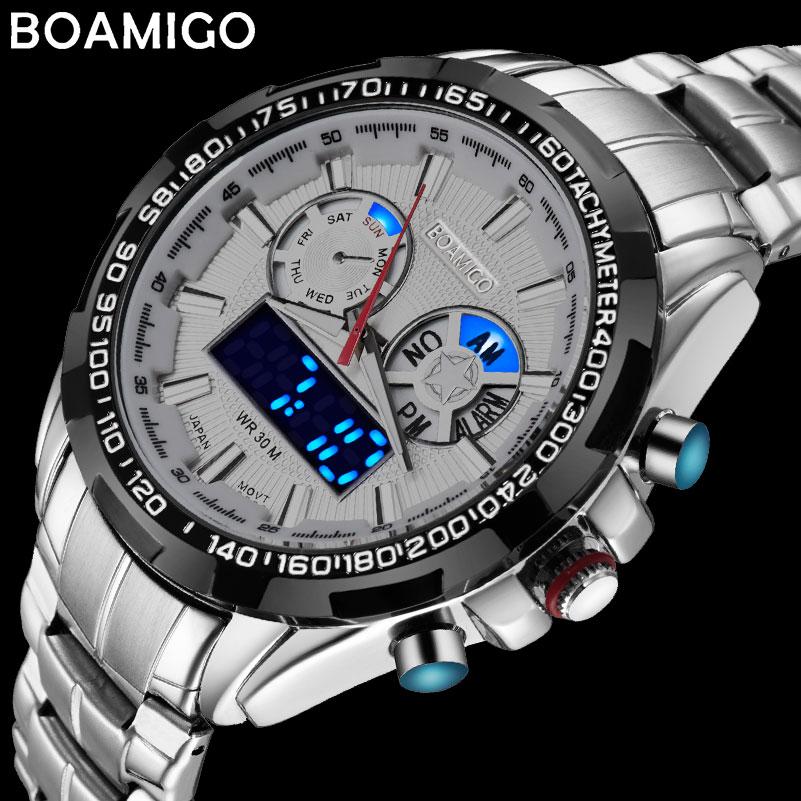 BOAMIGO أفضل العلامة التجارية الفاخرة الرجال الساعات الرياضية العسكرية موضة الأعمال الصلب الرقمية ساعة كوارتز ساعة حائط هدية relogio masculino