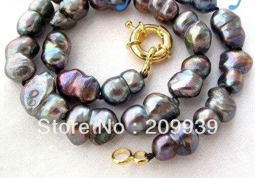 Venta caliente Noble-LIBRE >>>@@ AS2938 Negro Perlas de Agua Dulce blanco Collar 14KGP puede elegir