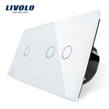 Fabricant, norme ue Livolo, interrupteur tactile, panneau en verre cristal blanc, interrupteur intelligent déclairage mural, VL-C701 + C702-11