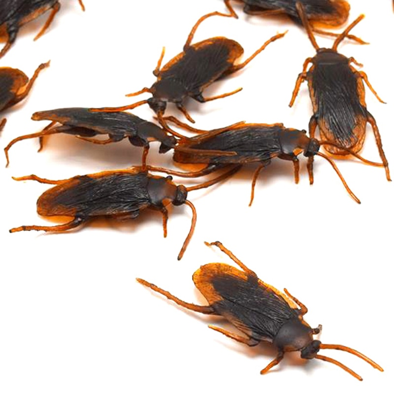 10pcs/lot Special Lifelike Model Simulation Fake Rubber Cockroach Cock Roach Bug Roaches Toy Prank Funny Trick Joke Toys