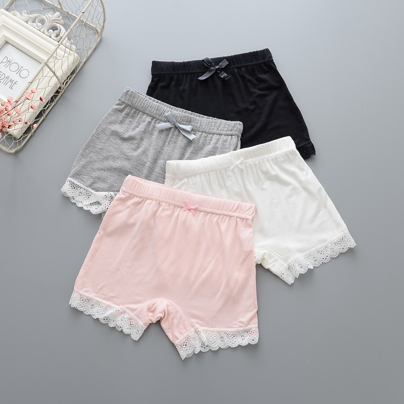 Chicas de verano de seguridad pantalones corto de niño polainas ropa interior niñas Boxer evitar vaciado pantalones cortos niños Modal encaje playa pantalón