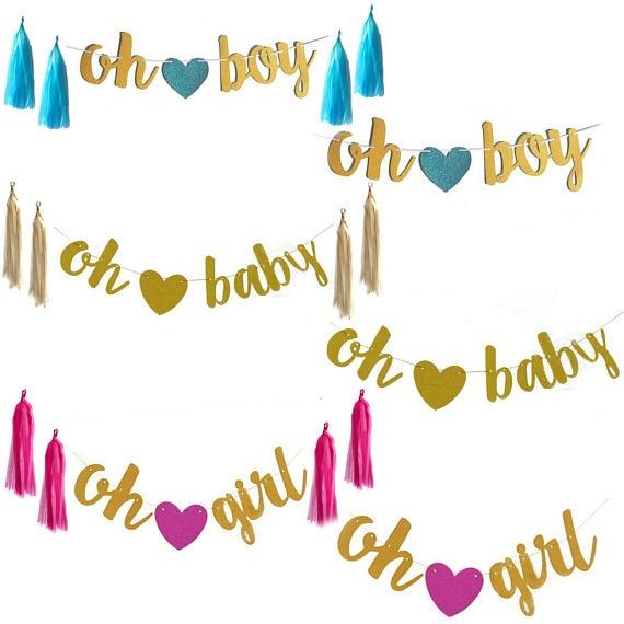 OH Baby/OH Menina // OH Boy Sinal Da Bandeira Banner Banner-Decorações Do Chuveiro de Bebê-Menina/Menino /Unisex Baby Shower Bunting Suplies
