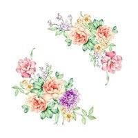 3D Stickers muraux fleurs colorees belle pivoine refrigerateur autocollants armoire toilette salle de bains decoration 2019 bricolage Sticker mural  30